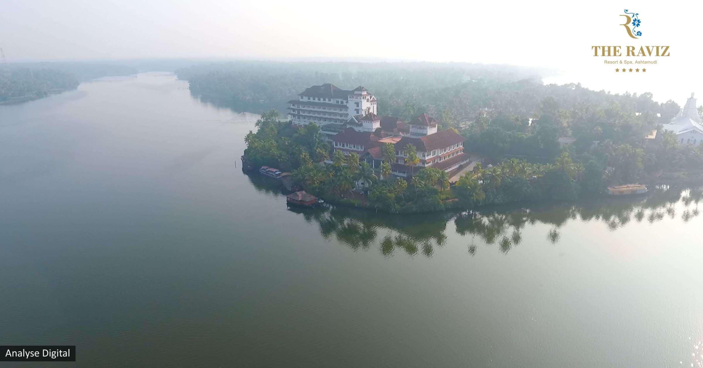 the raviz resort and spa ashtamudi - aerial view